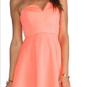 Neon Coral Naven V Strapless dress. Worn once
